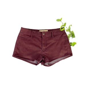 Hollister Denim Shorts Burgundy Hi Waist Stretch